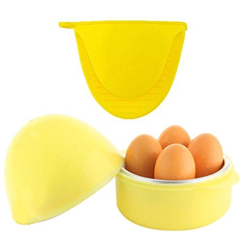 Coxeer Microwave Egg Cooker,Easy 4-Egg Boiler for Hard or Soft Boiled Eggs