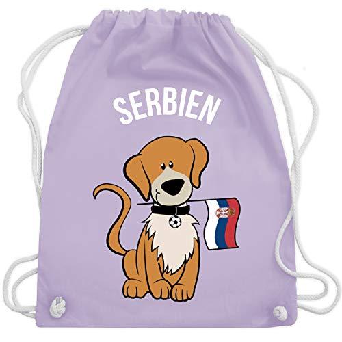 Shirtracer Fußball-Europameisterschaft 2020 Kinder - Fußball Serbien Hund - Unisize - Pastell Lila...