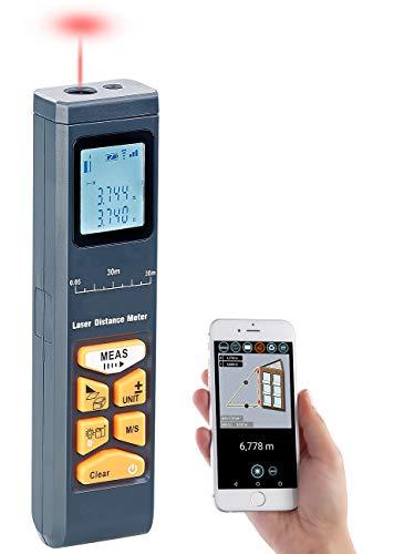AGT Distanzmesser: Laser-Entfernungsmesser mit LCD & Bluetooth, Messbereich 5 cm - 30 m (Lasermesser)