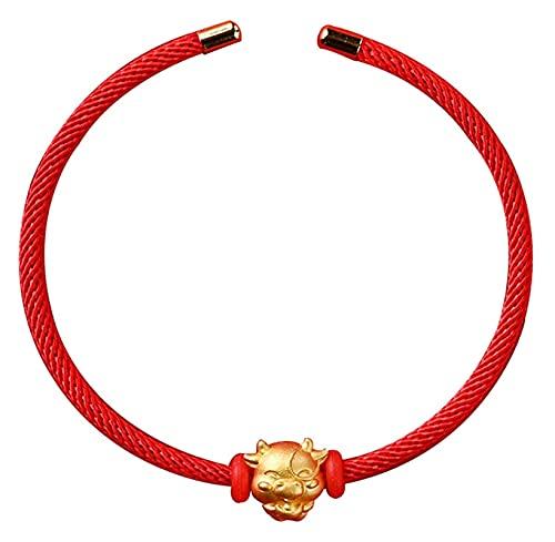 PRTOYO Brazalete de Oro Plateado Feng Shui Riqueza Little Taurus Pulsera Universal Ajustable Reiki Curación de la meditación de Chakra para la energía Positiva afortunada, Negro (Color : Red)