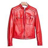 HUIGE Damen Lammfell-Lederjacke Moto Langarm Revers Motorrad Casual Kurz Reißverschluss Echtleder Mantel Leichte Bekleidung, Rot, L