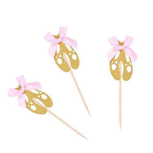 Pack de 24 zapatillas de ballet doradas con purpurina para decoración de cupcakes para fiesta de cumpleaños de niños o baby shower decoraciones
