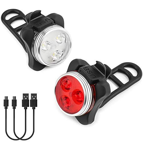 Fahrrad Rücklicht USB Wiederaufladbares LED-Fahrradlichtset wasserdichte Fahrradrücklicht LED für Radfahren, Camping, Wanderung, Leicht, Langlebig, für Alle Fahrräder Geeignet