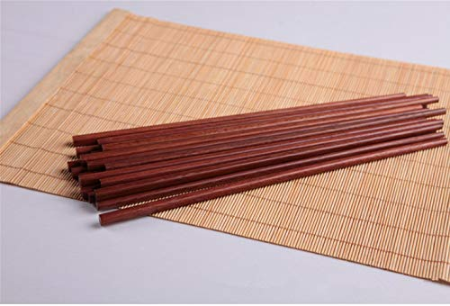 Chopsticks Reusable Chinese Wooden Chopsticks Dishwasher Safe Chopstick,Pack of 10 Natural Health for Cooking Eating,Korean & Japaness Style,9.8 inch Long,Brown