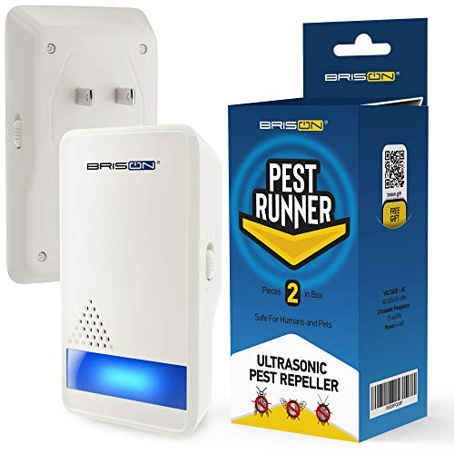 BRISON Ultrasonic Pest Repeller - Eco-Friendly Electronic Waves Pest Control Portable Indoor/Outdoor Plug in Repellent for Mosquitoes Mice Rats Cockroaches Spiders Ants Rodents [2 Pack]