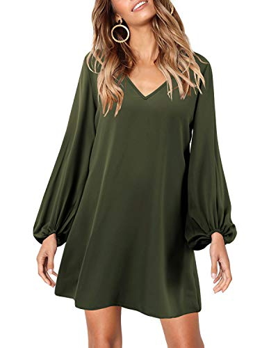 SOLERSUN Tunic Dresses for Women, Women's Casual Chiffon Flared Sleeve V Neck Loose Pullover Party Mini Swing T Shirt Dress Army Green M