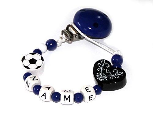 Baby Schnullerkette mit Perlen aus Holz und Wunschname.Vereinsfarben - blau weiß schwarz