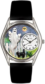 Whimsical Watches Halloween Ghost Black Leather and Silvertone Unisex Quartz Watch with White Dial Analogue Display and Mu...