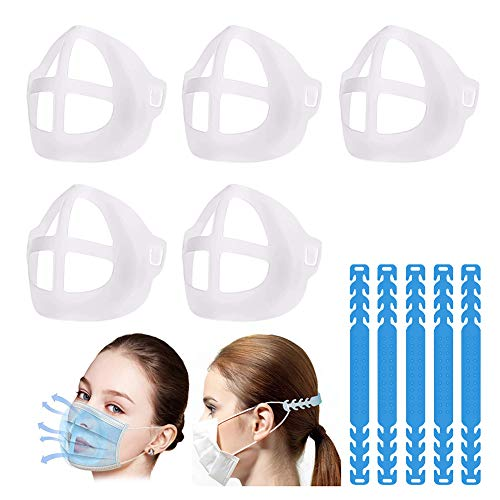 3D Bracket, Strap Extender, 3D Face Inner Bracket, Ear Strap Hook, Cool Lipstick Protection Stand, Lipstick Makeup Protection Stand, Helps to Breathe Smoothly, Washable Reusable(5PCS)