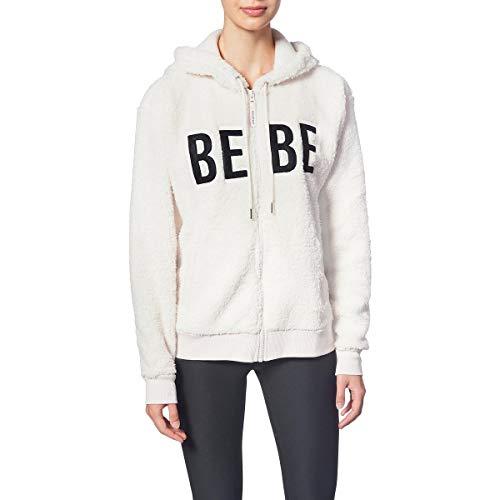 Bebe Sport Womens Sherpa Cozy Hoodie Ivory L