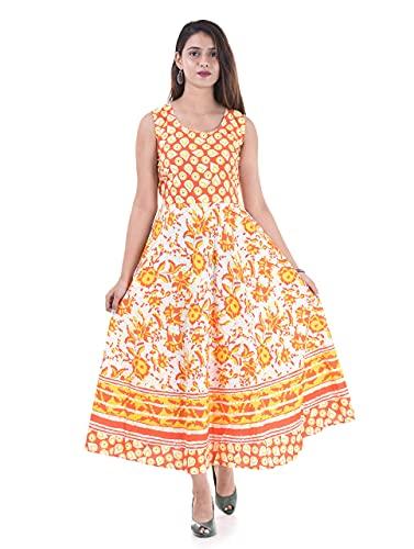 UNIBLISS Women's Cotton Rajasthani Jaipuri Traditional Floral Printed Long Midi...