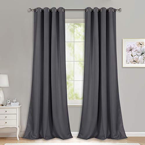 NICETOWN Bedroom Blackout Curtains Panels - (52 inches by 120 Inch, Grey, Set of 2) Triple Weave Energy Saving Thermal Insulated Solid Grommet Blackout Draperies for Patio