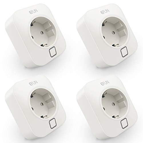 EFUN SH338A WiFi Smart Stecker Intelligente Plug WLAN Steckdose 4 Pack, 2.4GHz, funktioniert mit Alexa und Google Assistant, fernbedienbar, mit Überstromsschutz, feuerfestes Material