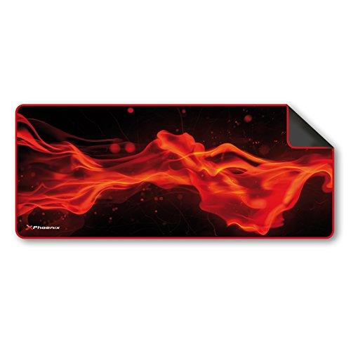 Phoenix Technologies - Alfombrilla para Teclado y ratón Gaming de Silicona con Base Antideslizante roja y Negra (295 x 800 x 3mm)