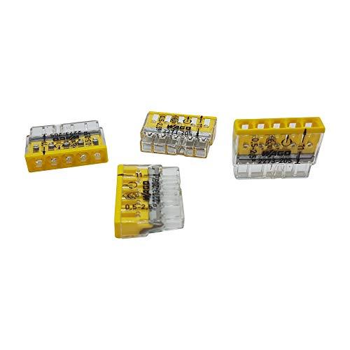 20 Stück Wago 2273-205 COMPACT-Verbindungsdosenklemme Ø 0,5-2,5 mm², 5-polig, transparent/gelb