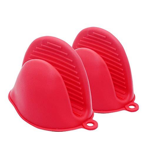 Manoplas antideslizantes de silicona para horno, guantes de horno con forro interior de algodón suave, guantes para horno, para cocina, barbacoa, hasta 300 °C, color rojo