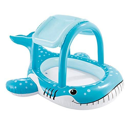 CRYPIN Baby Pool, Hochwertiger Aufblasbarer Pool Mit Überdachter Babykletter,Whale,211 * 185 * 109cm