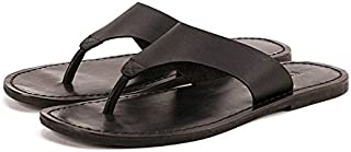 Summer Men Slippers Male Genuine Leather Flip Flops for Man Vintage Casual Beach Sandals Non-Slip Zapatos Shoes (Color : Black, Size : 6.5-MUS)