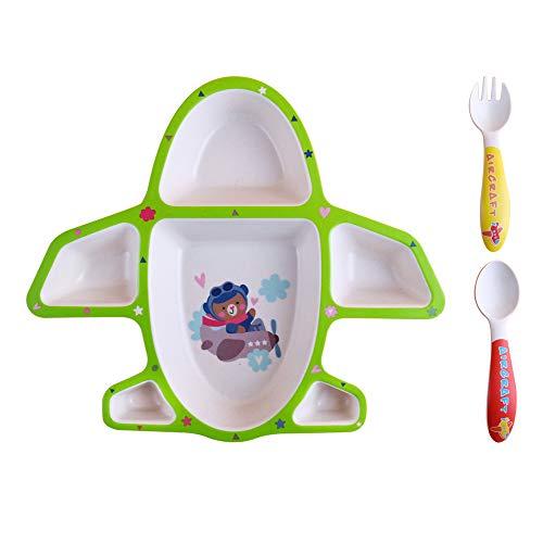 Juego de cubiertos ecológicos de fibra de bambú para niños, 3 piezas, juego de vajilla de bambú para niños pequeños, sin BPA y diseño de avión (verde)