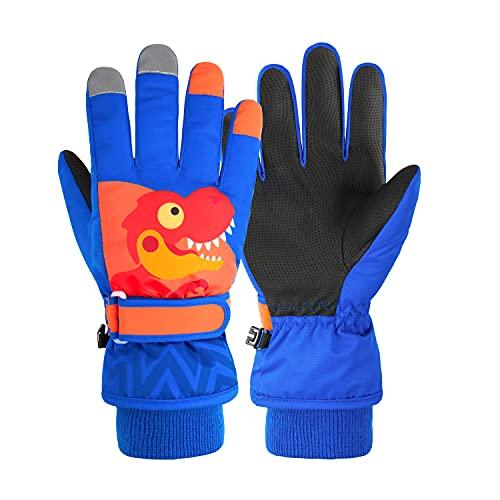 FitTrek Guantes Esqui Niño - Guantes Ski para Nieve Snowboard Impermeables - Guantes Invierno Bebe Infantil Azul 1 - 15 Años