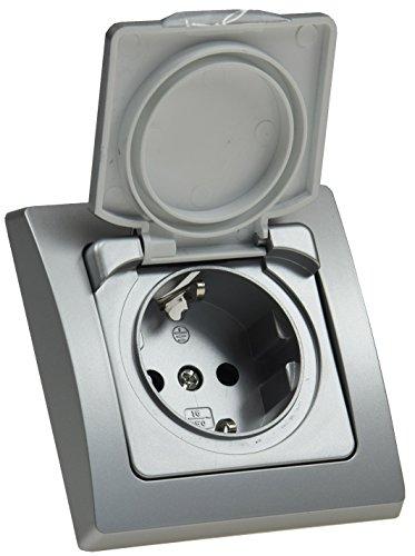 DELPHI IP44 Steckdose Unterputz Feuchtraum-Steckdose mit Schutz-Deckel Gummidichtung Grau Silber