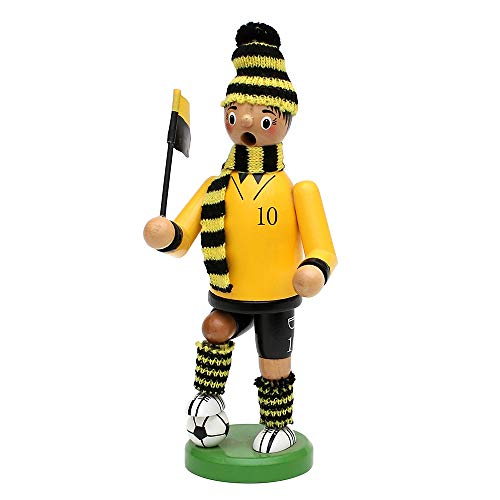 Dekohelden24 Räuchermann als Fussballer mit schwarz/gelbem Outfit, ca. 20 cm