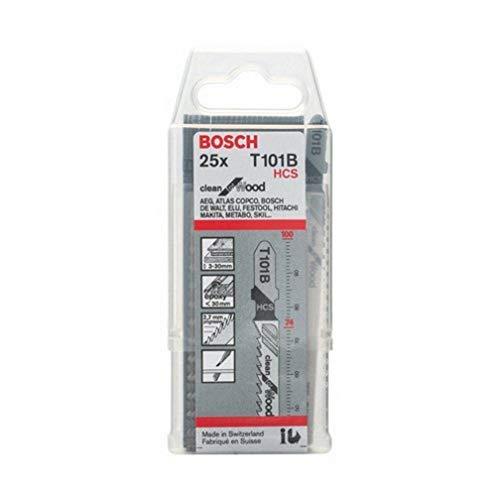 Bosch 2608633622 - Lame Seghetto Alternativo T 101 B Clean for Wood, 25 pezzi, HCS, Denti Diritti e Rettificati, per Legno Tenero, Pannelli in truciolato, paniforte e pannelli in fibra (3-30 mm)