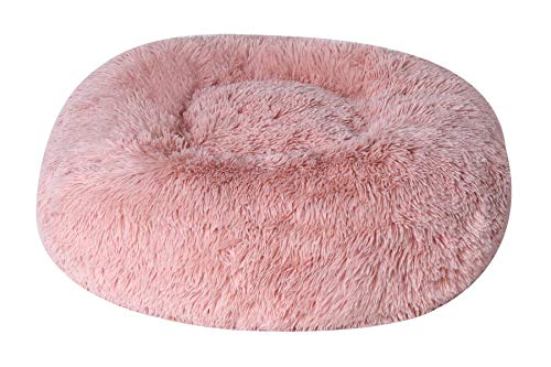 BinetGo Calming Donut Cat and Dog Bed Cushion Bed Faux Fur Donut Cuddler for Dog Cat Joint-Relief and Improved Sleep – Machine Washable, Waterproof Bottom (32″, Pink)