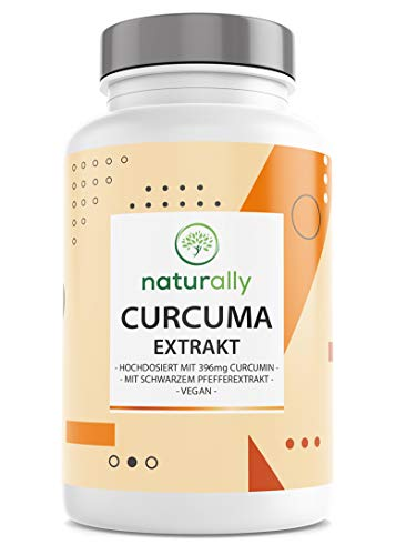 Curcuma Extrakt Kapseln Von Naturally - Kurkuma Hochdosiert: Curcumin Gehalt Einer Kapsel Entspricht Ca. 12.500 mg Curcuma - 90 Kapseln Mit Piperin Für Verbesserte Bioverfügbarkeit