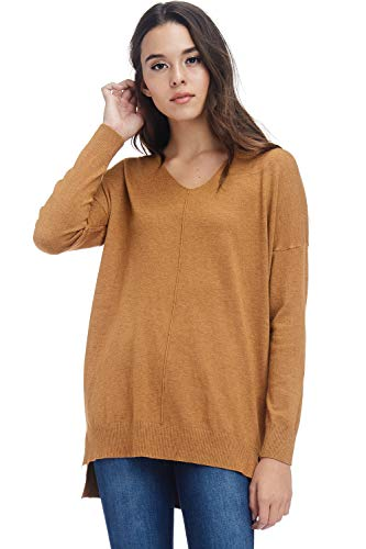 A+D Womens Oversized Extra Soft V-Neck Pullover Sweater Long Sleeved Sweater Top with Hi-Low (H. Mustard, Medium/Large)