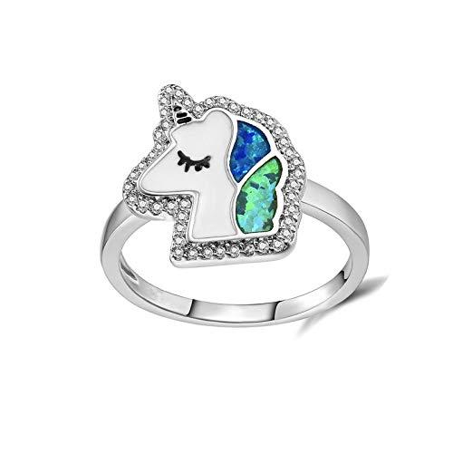 YIJIAN Anillo Unicornio Anillo Multa Anillo de Piedras Preciosas Moda/Como se muestra / 10#