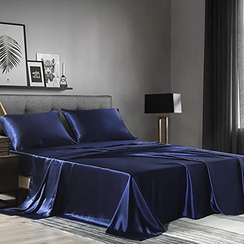 Satin Sheets Queen Size(4pieces, Navy Blue) Super Soft Silky Satin Bed Sheets Set with 1 Deep Pocket Fitted Sheet, 1 Flat Sheet, 2 Pillowcases(Navy Blue,Queen)