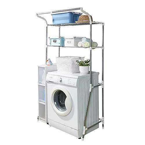 HRS ランドリーラック 洗濯機上ラック 洗濯機ラック 収納棚 2段棚収納 ハンガーバー付き ちょいかけ 横幅伸縮可能 ぐらつき防止 幅98cmまでの洗濯機対応 横幅62~103*奥行50*高さ173cm