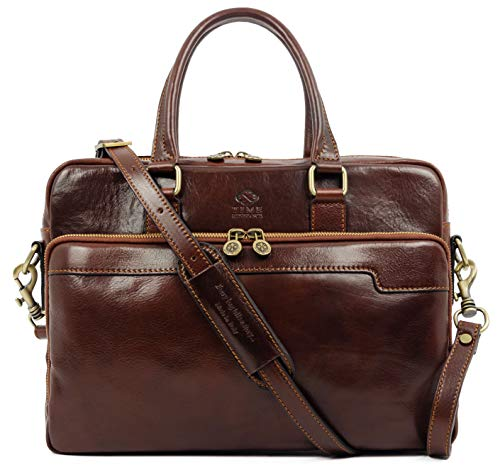 Leather Laptop Bag Full Grain Briefcase Brown Satchel Bag - Time Resistance