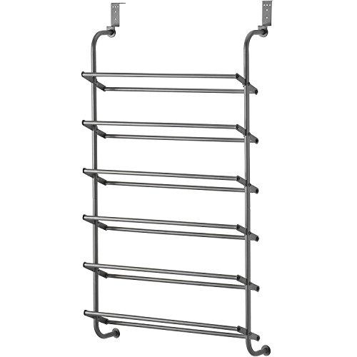 Whitmor 6 Shelf Over The Door Gunmetal Gray Shoe Rack, 7.5x22.625x41.80