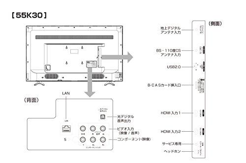 『ハイセンス Hisense 55V型 液晶 テレビ 55K30 フルハイビジョン 外付けHDD裏番組録画対応 メーカー3年保証 2018年モデル』の8枚目の画像
