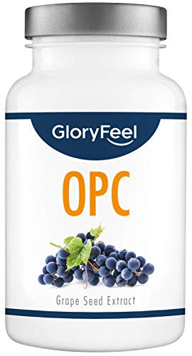GloryFeel OPC Grape Seed Extract - 1000mg Pure OPC Supplement from Original French Grapes per Daily dose (2 Capsules) with Vitamin C - Laboratory Tested Production in Germany - 180 Vegan Capsules