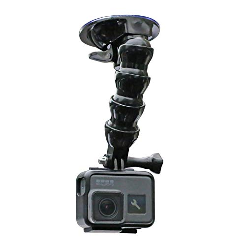 Flexible Gooseneck Extension Suction Cup Car Mount Holder with Phone Holder for Go pro Hero 9/8/7/6/5 Black,4 Session,4 Silver,3+,iPhone,Samsung Galaxy,Google Pixel and More