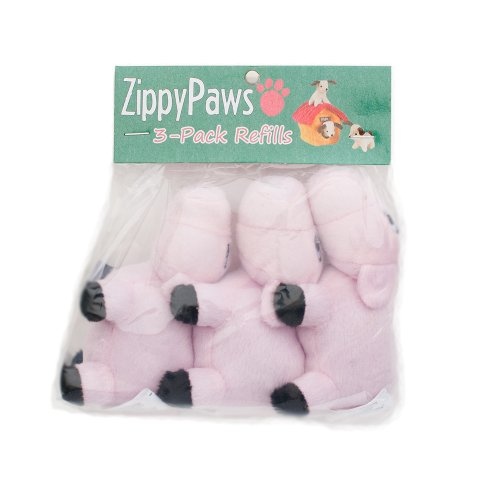 ZippyPaws - Farm Pals Burrow, Interactive Squeaky Hide and Seek Plush Dog Toy - Pig Miniz, 3 Pack