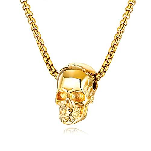Naswi Collar de Calavera Masculina de Color Dorado de Estilo Punk, Cadena de Acero Inoxidable, Colgante de Esqueleto, Collar para Hombre