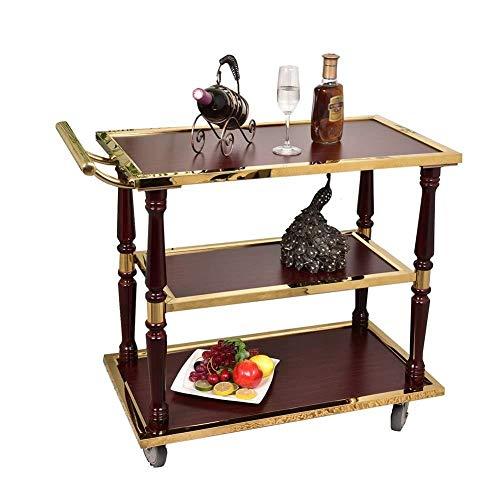TROLLEOY Servierwagen-Trolley-Edelstahl-Küchen-Dinning Servierwagen, Hausbar Wein-Tee-Wagen mit stillen Rädern