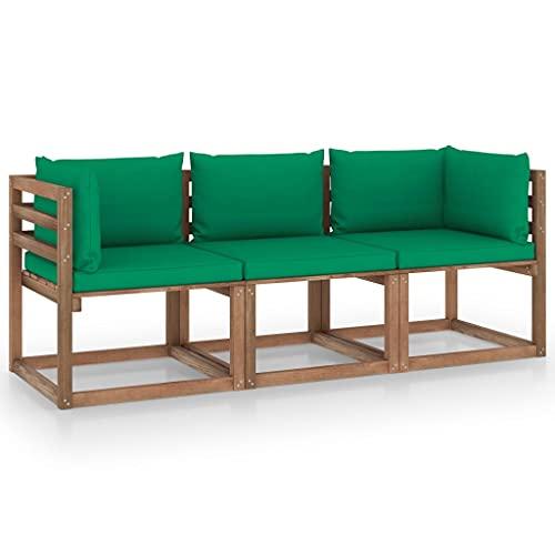 vidaXL Madera de Pino Sofá de Palets de Jardín 3 Plazas Cojines Mueble Terraza Patio Exterior Hogar Silla Sillón Asiento Suave con Respaldo Verde