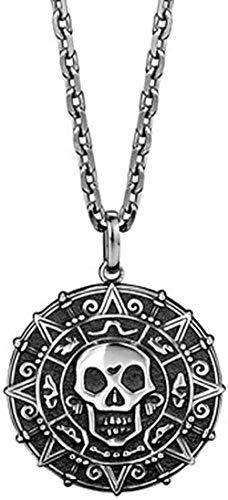NC110 Collar con Colgante para Hombre S925, Medalla Redonda con Cabeza de Calavera de Plata, joyería Personalizada, Cadena de Plata, Regalo para Hijo y Novio YUAHJIGE