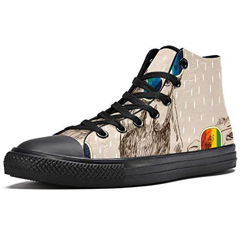 Lorvies Kamel, Brillen, Skizzen, Arabische Kunst, hohe Sneaker aus Segeltuch, für Herren, Sportschuhe, - mehrfarbig - Größe: 38 EU