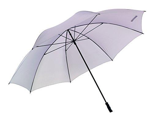 Paraguas gigante XXL súper grande con capacidad para 7 personas. 180cm de diámetro y caña de fibra extra ligera (1kg). Color gris claro