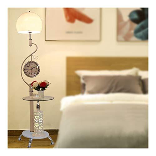 JIAX Led Stehlampe Weiß, Stehleuchten for Wohnzimmer Helle Beleuchtung, Metall Mit Wanduhr Moderne LED Spar Vertikal-Licht, 67 Inches Nordic Kreativer Kaffee-Tischlampe (Color : 5W LED Tricolor)