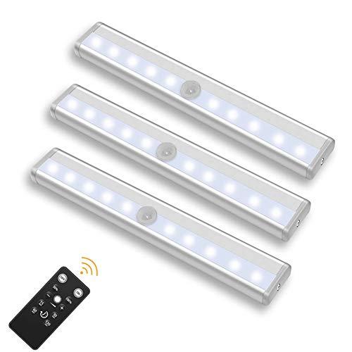 CaaWoo Luces LED para Armario, 3PCS Lámpara LED Armario Luces LED a Pilas, Barra de Luz Lámpara nocturna LED Inalámbrica con Remoto y Tira Magnética para Cocina, Vitrina, Tocador, Escalera (Blanco)
