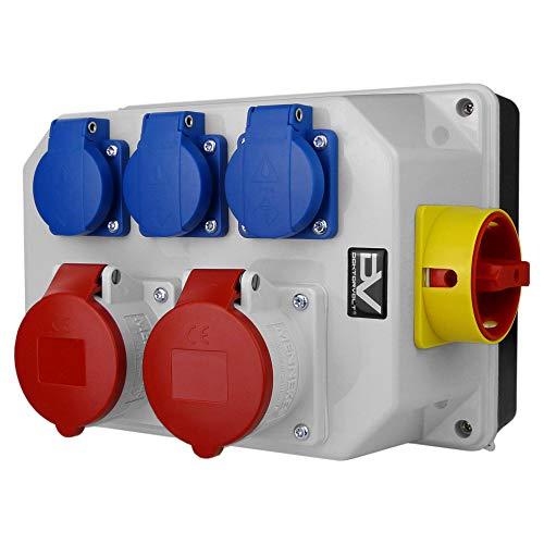 Stromverteiler BAU 2x16A 3x230V mit PCE MERZ Schalter 0-1 Mennekes Dosen Wandverteiler Baustromverteiler Steckdosenverteiler Doktorvolt 9771