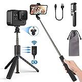 PEYOU Perche Selfie Trépied avec Télécommande Rechargeable Compatible pour iPhone,Samsung,Huawei,3.5-6.8''Android Smartphone,Gopro,360 ° Selfie Stick Monopode 3 en 1 Aluminium de Amovible Bluetooth
