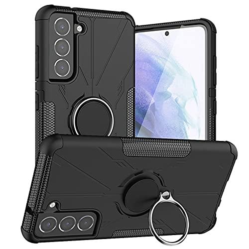 Funda para Samsung Galaxy S21 FE 5G Composite Mecha 360 Grados Anillo Teléfono Teléfono Móvil Magnético Soporte Coche Antideslizante y Resistente al Sudor,Robusta Anti-Golpes (B)